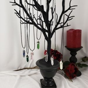 Dark Rose Jewelry - Corded Crystal Shape Pendant Necklace